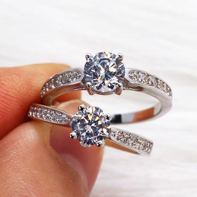 925纯银四爪80分仿真女钻戒结婚戒指一克拉八心八箭对戒情侣银戒