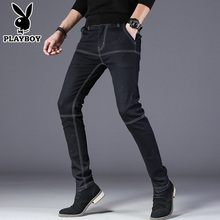 Playboy, jeans, men's autumn trend, black fashion pants, self-cultivation, elastic, casual, straight tube men's trousers.