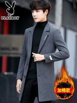 Playboy windbreaker Male Korean version winter men 2018 New medium and long wool coat with cotton coat winter clothes