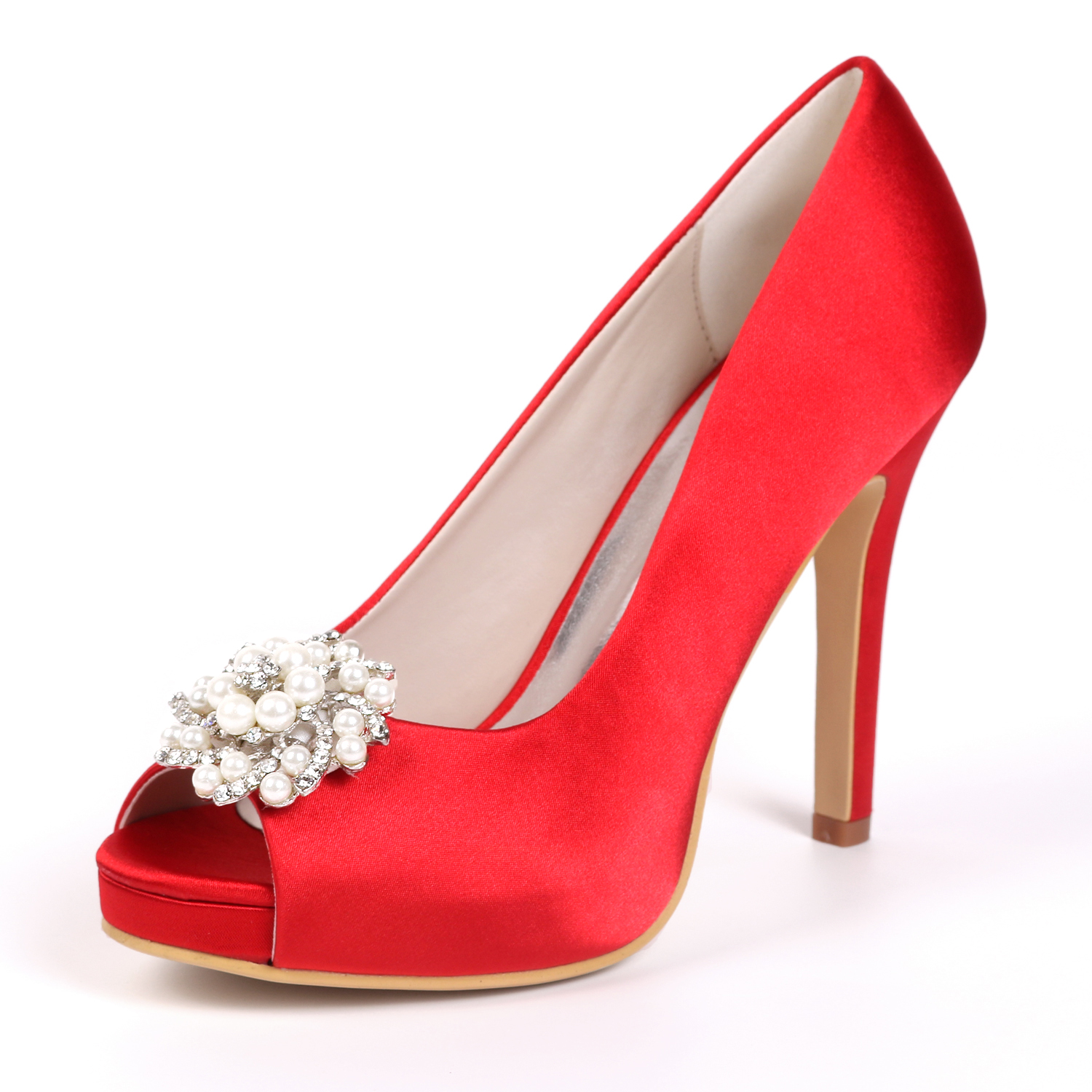 New foreign trade womens shoes luxury evening shoes Diamond Wedding Shoes Sexy fish mouth high heel silk wedding shoes thin heel sandals