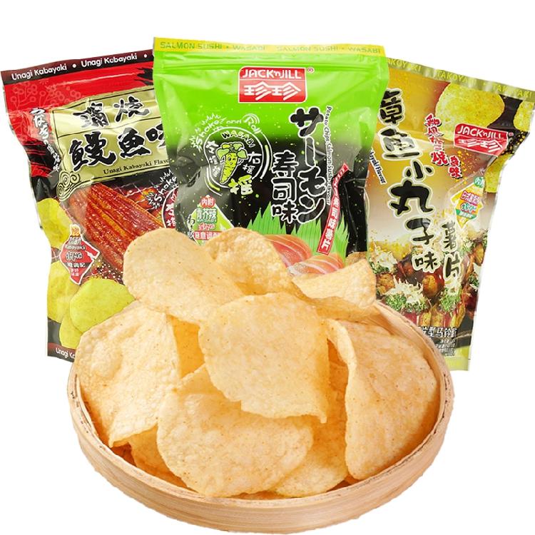 珍珍日式风味 切片型芥末味马铃薯片膨化多口味内附调料包45g*8包