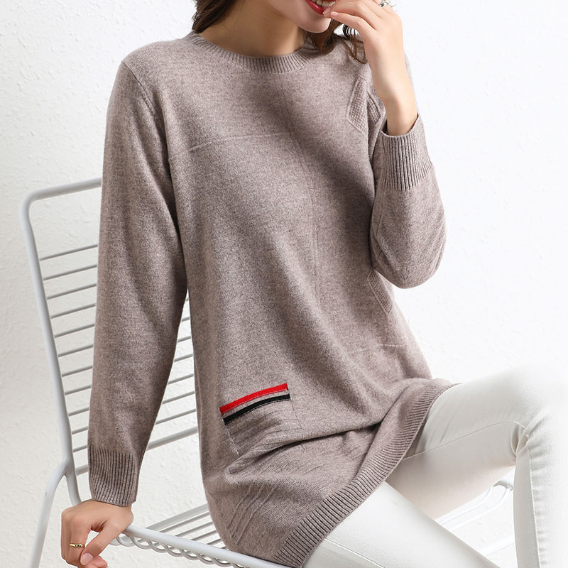 Flying lady 2020 new woolen sweater womens 100 pure wool round neck medium length sweater with foreign style and fashion background