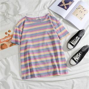 5483#實拍2020夏季新款學生彩虹拼條紋短袖網紅T恤寬松打底衫上衣