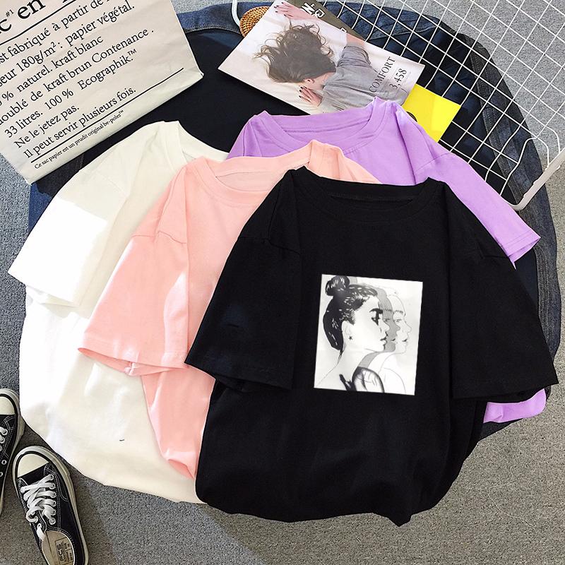 5708#实拍夏季新款韩版T恤女可爱甜美上衣宽松大码学生半袖装