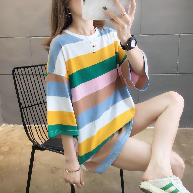 6650#實拍2020夏季情侶裝嘻哈中性寬松學生中長款條紋短袖t恤女
