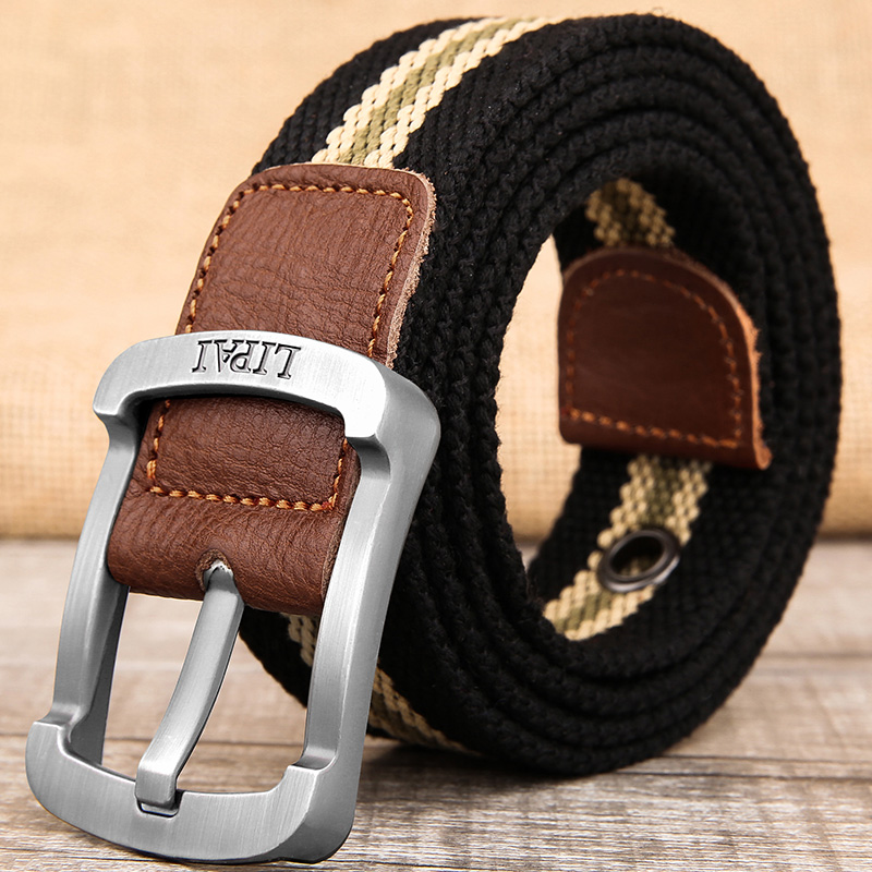 Canvas belt mens and womens belt pin buckle youth student Jeans Belt casual cloth belt military training outdoor fashion