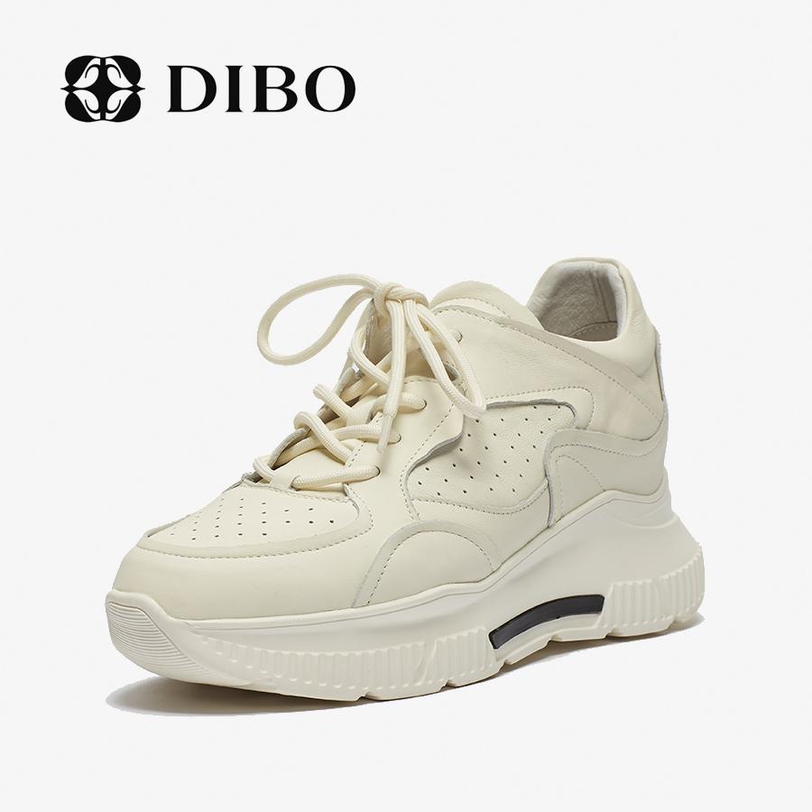 DIBO2020新款女鞋真皮圆头老爹鞋系带时尚厚底内增高休闲鞋女百搭