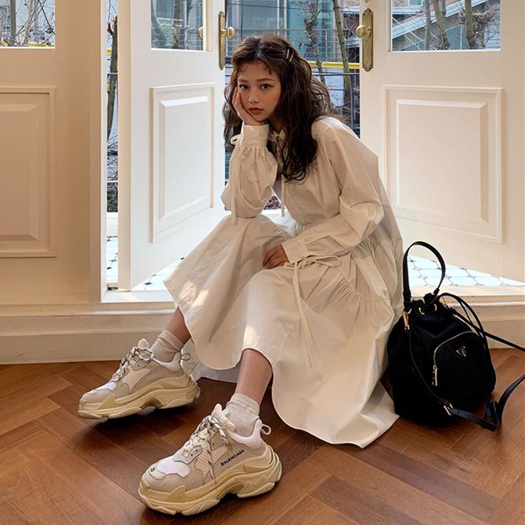 韩国复古鬼马少女小仙女衬衫式绑带宽松白色中长款连衣裙配腰带秋