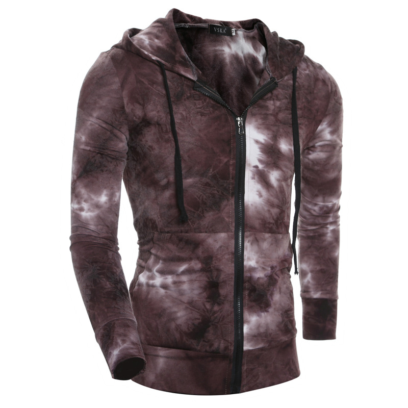 Foreign trade new 2016 autumn new gradient wind men casual zipper cardigan hooded sweater