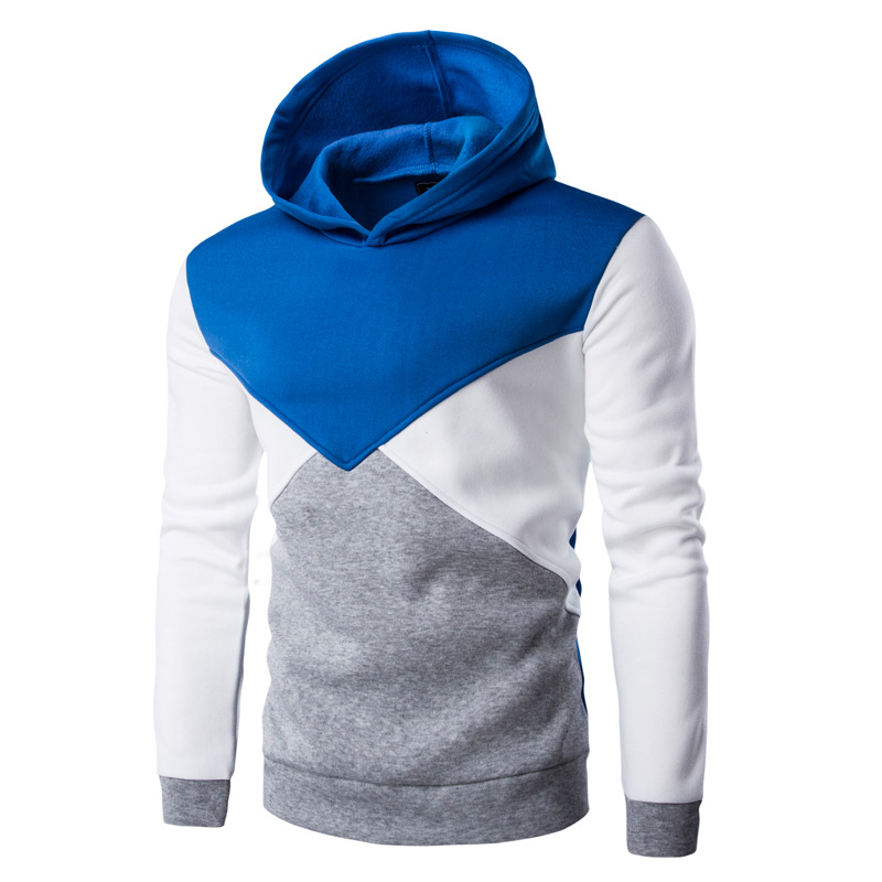 AliExpress foreign trade new stitching color wind trendy Korean version of the cap with long sleeves plus velvet men swe