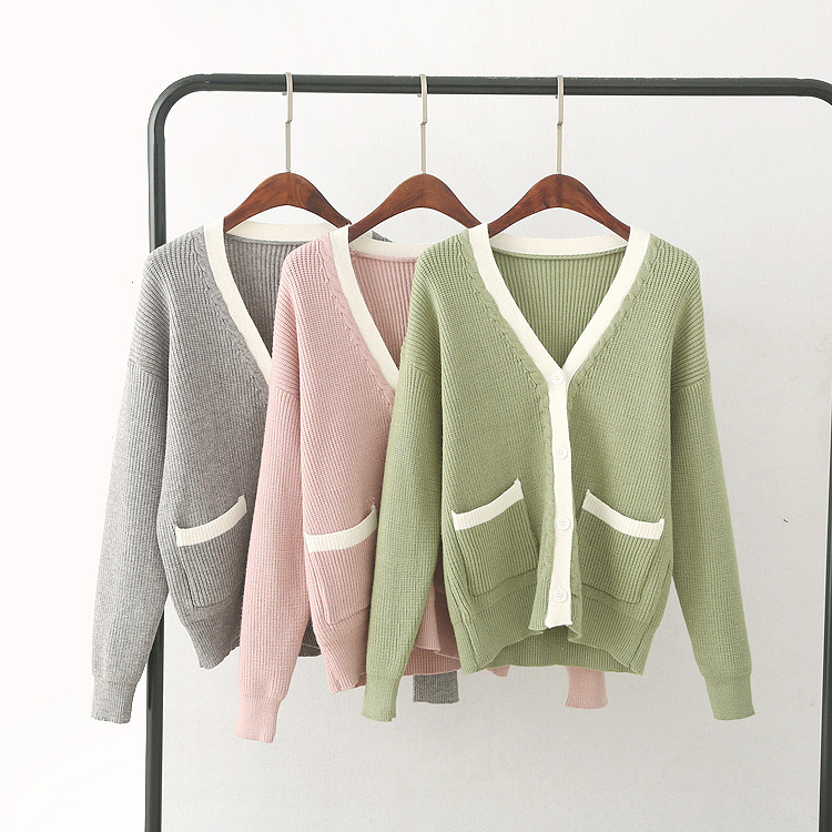 Autumn and winter fresh knit cardigan Korean loose spell color V-neck knit sweater jacket female wild