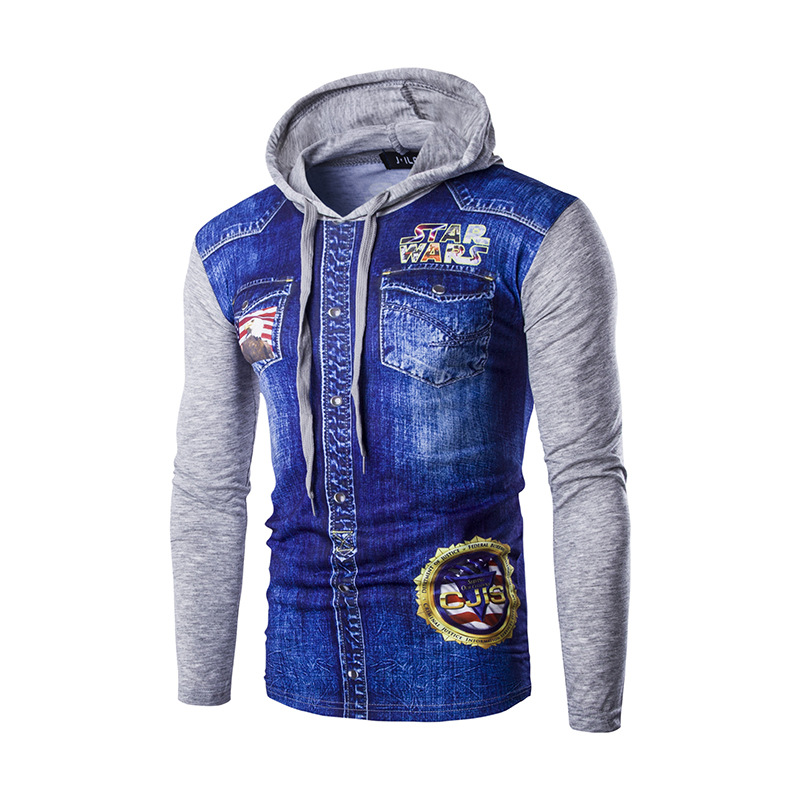Foreign trade real shot 3D printing Star Wars denim pattern Slim long-sleeved T-shirt men hooded primer shirt