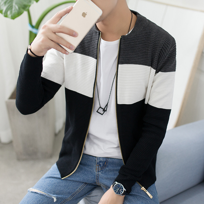Foreign direct factory outlet men's new round-neck cardigan sweater Men stitching hit color sweater tide