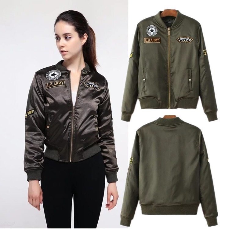 Foreign trade Europe and the United States women's embroidery embroidery satin baseball uniform jacket 2017 autumn new t