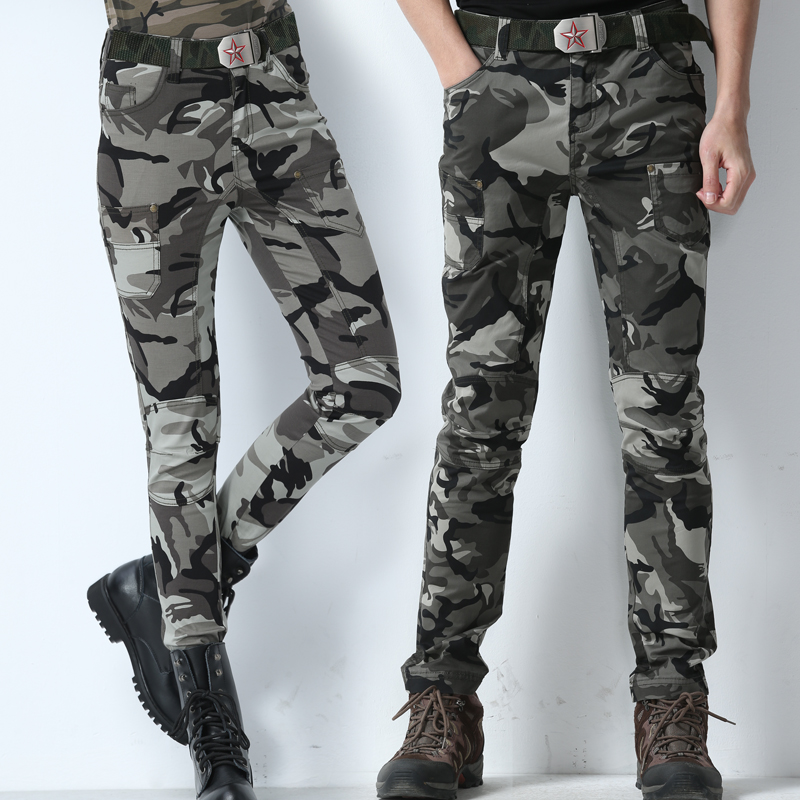 Summer work clothes camouflage multi bag pants slim fit square dance outdoor mountaineering clothes couple casual Leggings