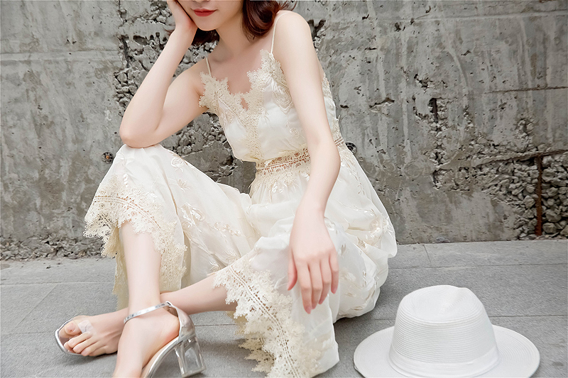 Thai holiday Chiffon V-neck embroidery lace side open back suspender Jumpsuit shows thin wide leg Capris