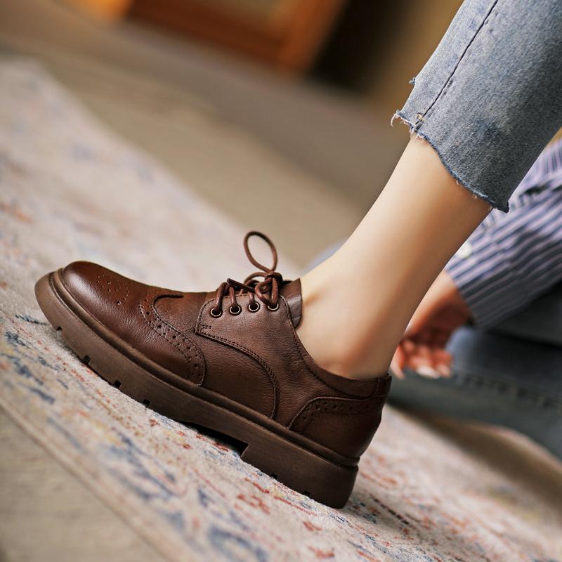 复古女鞋软皮小皮鞋英伦风布洛克棕色牛津鞋休闲春秋真皮黑色单鞋