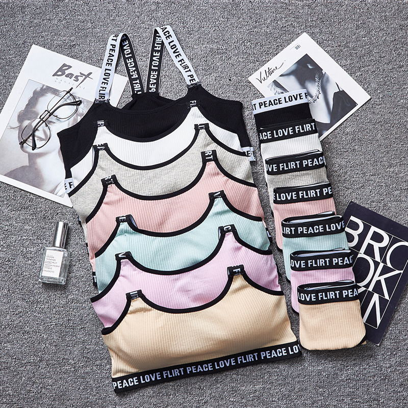 New Japanese thread Miss underpants back style sports underwear set letter shoulder strap bra thin cup without steel ring