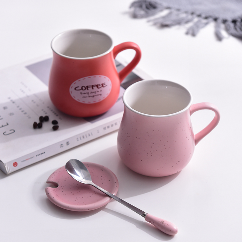 Ceramic mug Mug Coffee Cup creative couples water cup with cover spoon tea cup milk cup can be customized by students
