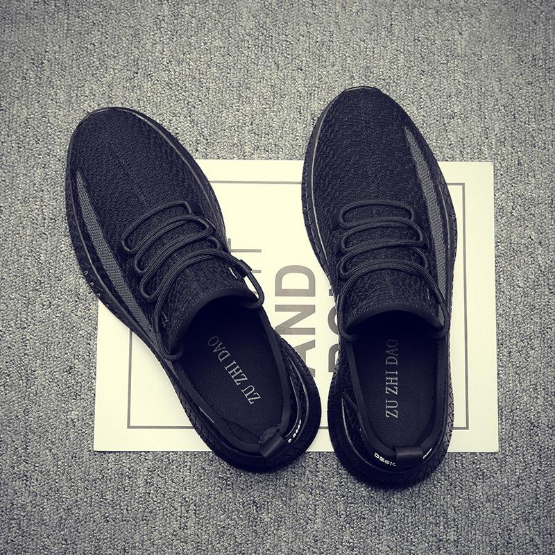 黑色夏季透气薄款男鞋子大码45潮流48休闲椰子运动百搭网面飞织潮