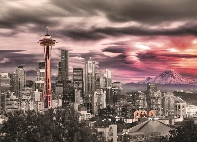 现货包邮Eurographics加拿大进口益智拼图1000片西雅图城市天际线
