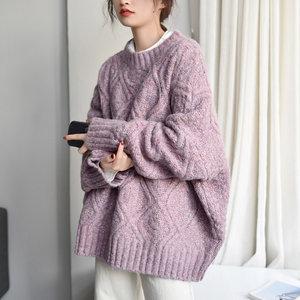 2020秋冬日系宽松慵懒风粗毛线圆领针织衫紫色茧型套头毛衣外套女
