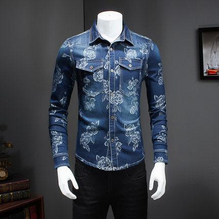 秋季新款长袖衬衫男装韩版修身牛仔布印花衬衣青年休闲纯棉打底潮