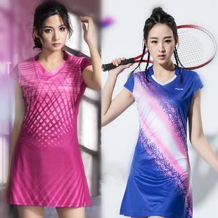 女款 透气显瘦网球服裙裤 羽毛球连衣裙套装 夏季 羽毛球服运动裙 短袖