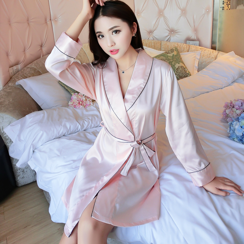 High grade silk pajamas womens summer long sleeve shirt comfortable silkworm silk simple loose breathable womens Nightgown thin