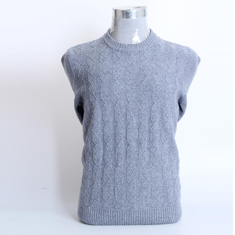 额尔尼曼秋冬季新款圆领羊绒衫男式套头扭花针织衫中年休闲毛衣
