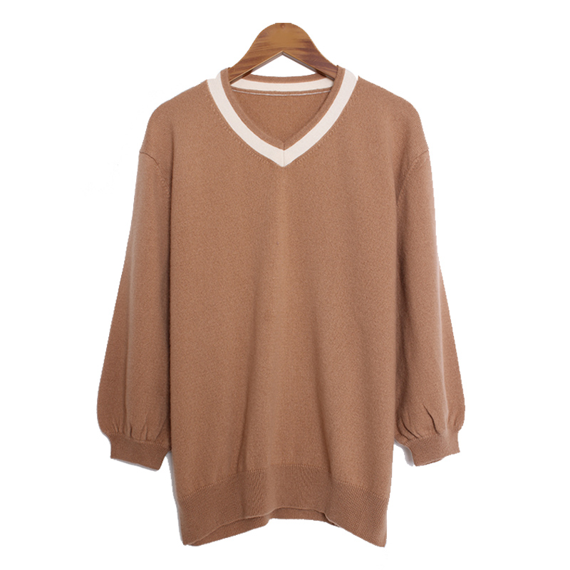 Ernimans new autumn and winter cashmere sweater womens V-neck Pullover Color Bubble Sleeve fashion sweater
