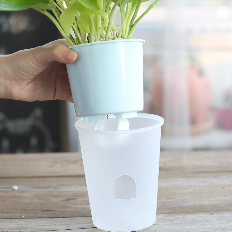 双层透明塑料自动吸水花盆懒人免浇水办公桌面圆形小号盆栽种植盆