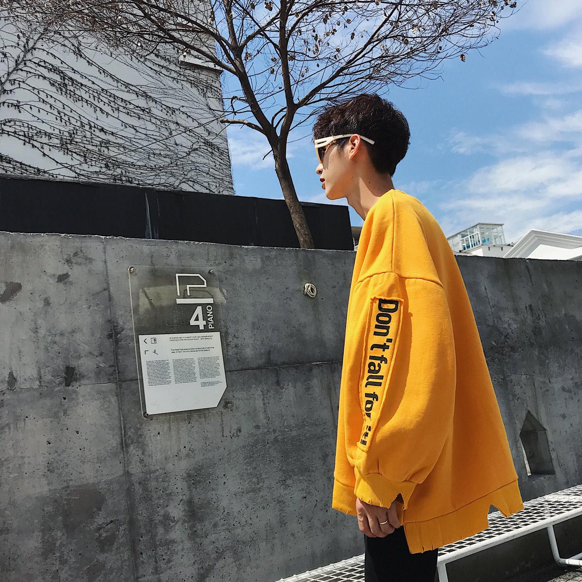 春秋季新款卫衣男潮牌宽松圆领韩版潮流学生帅气ulzzang bf风外套