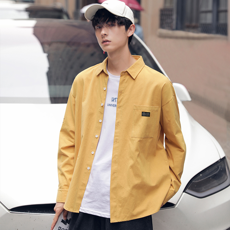 Gxgz leisure mens wear 2020 spring new shirt mens long sleeve loose cotton solid Shirt Top Men