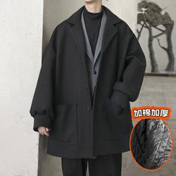 @方少男装 秋冬中长款加厚呢大衣男士韩版宽松bf夹棉风衣呢外套潮