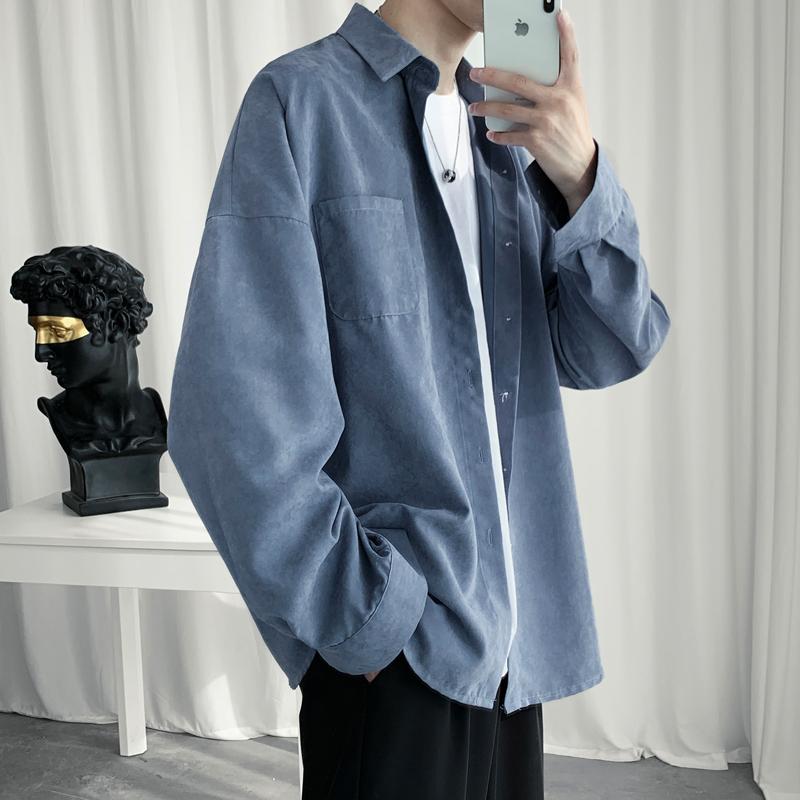 @方少男装 港风秋季宽松纯色衬衫男韩版简约经典百搭长袖衬衣外套