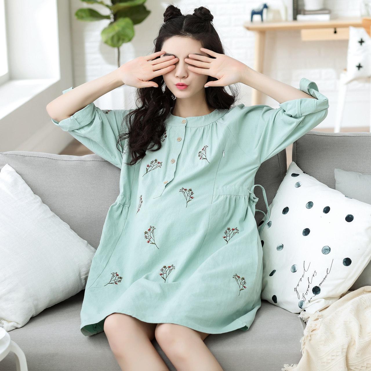 可愛孕婦睡衣純棉性感睡裙女長袖卡通 薄款長裙全棉家居服