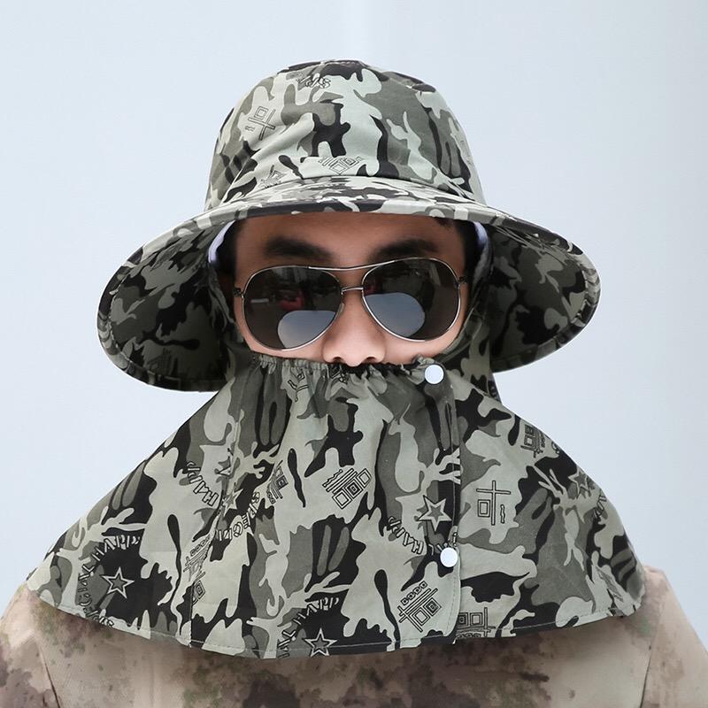 限1000张券迷彩帽男夏季遮阳帽渔夫帽登山帽户外防晒帽钓鱼加防尘可卷收面罩