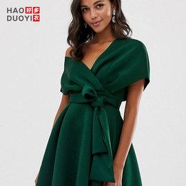 HaoduoyiV领露肩系带高腰显瘦名媛气质 优雅高端复古墨绿连衣裙女