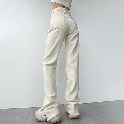 穿出超模腿美式复古高腰显瘦脚口开叉拖地牛仔裤百搭直筒长裤夏季