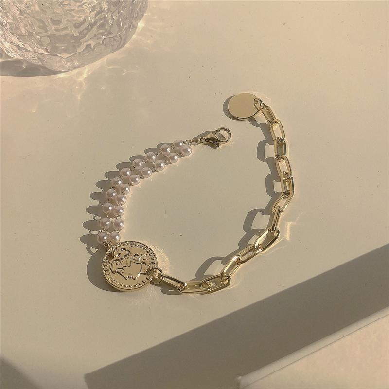 双层珍珠手链~人像金币ins气质简约百搭粗链条欧美夸张手镯手饰女