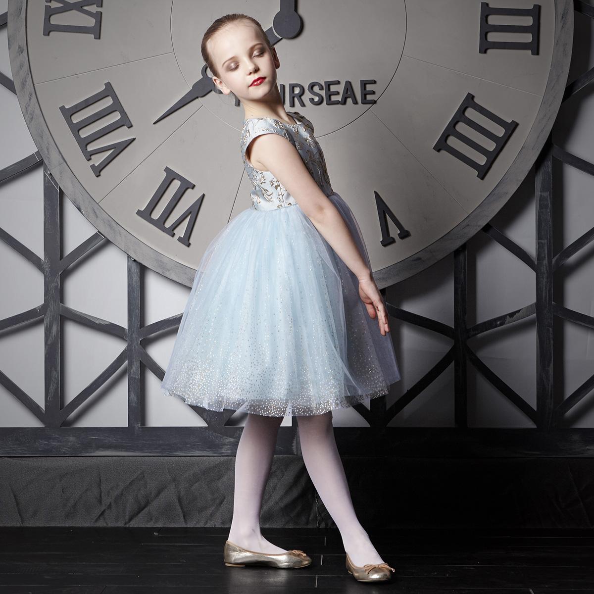 爱安玖女童公主裙蓬蓬纱裙钢琴走秀儿童礼服女生日晚礼服花童高贵