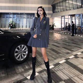 丽哥潮牌学院风西装连衣裙女2021春秋新款收腰显瘦女团百褶短裙子