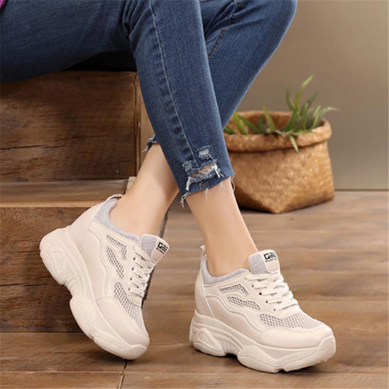 运动鞋女春夏白色百搭松糕厚底镂空老爹鞋透气内增高女鞋8cm网鞋