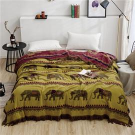 欧美式纯棉提花四层纱布床盖床单双面加大炕毯榻榻米毛巾被沙发巾图片