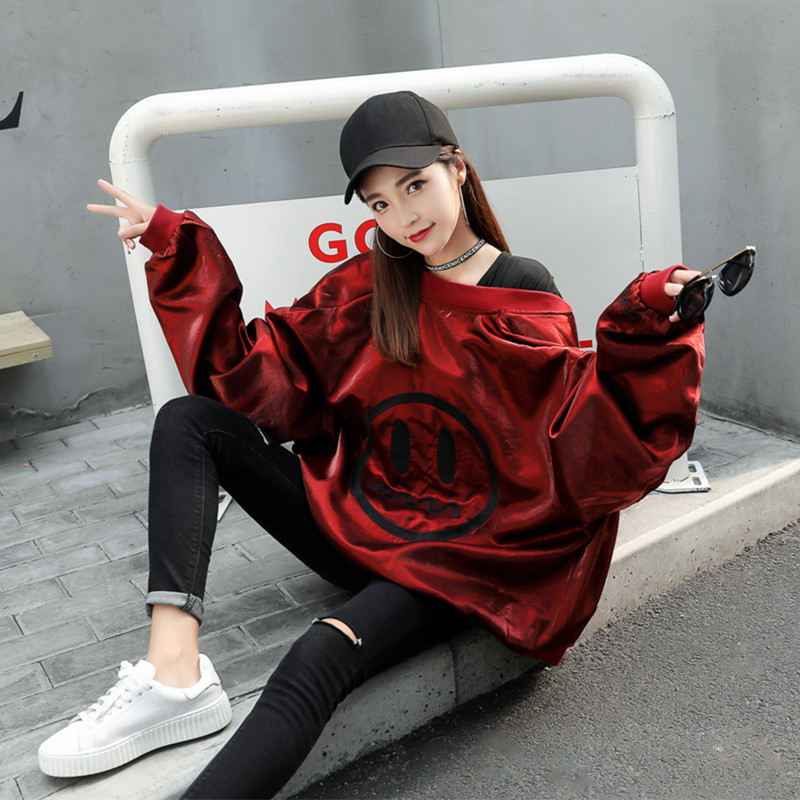 Autumn and winter new smiley face flash silk satin BF bomber loose thickened jacket jacket short women