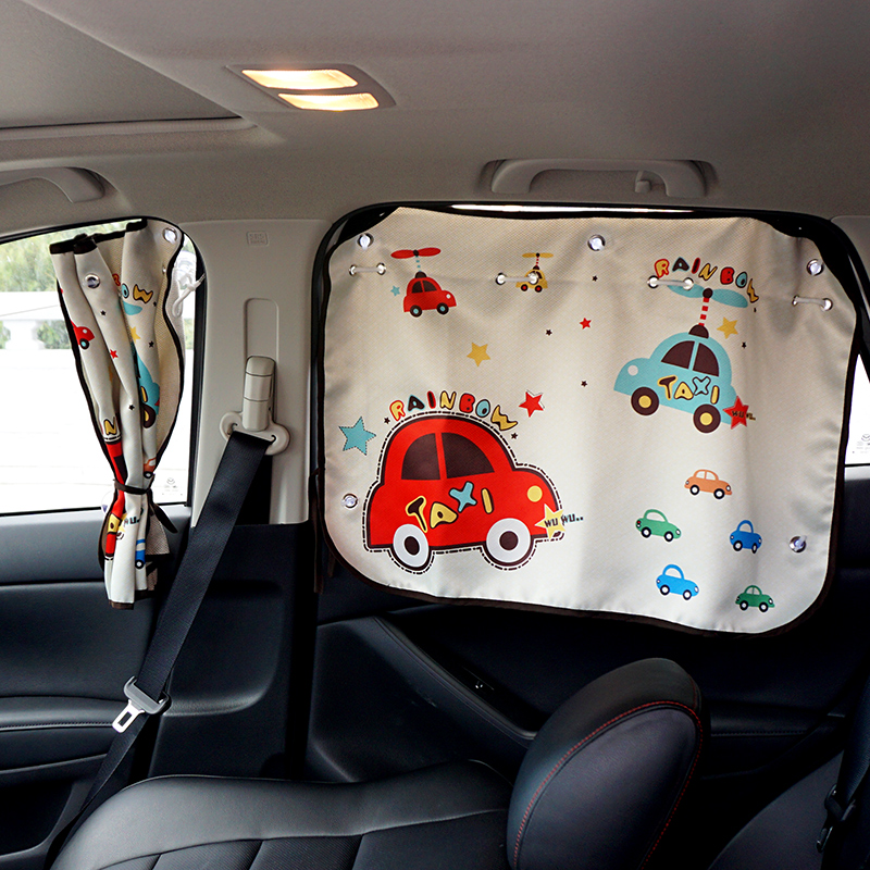 汽车车窗遮阳帘板儿童卡通吸盘式车窗帘车用侧窗防晒伸缩隔热挡