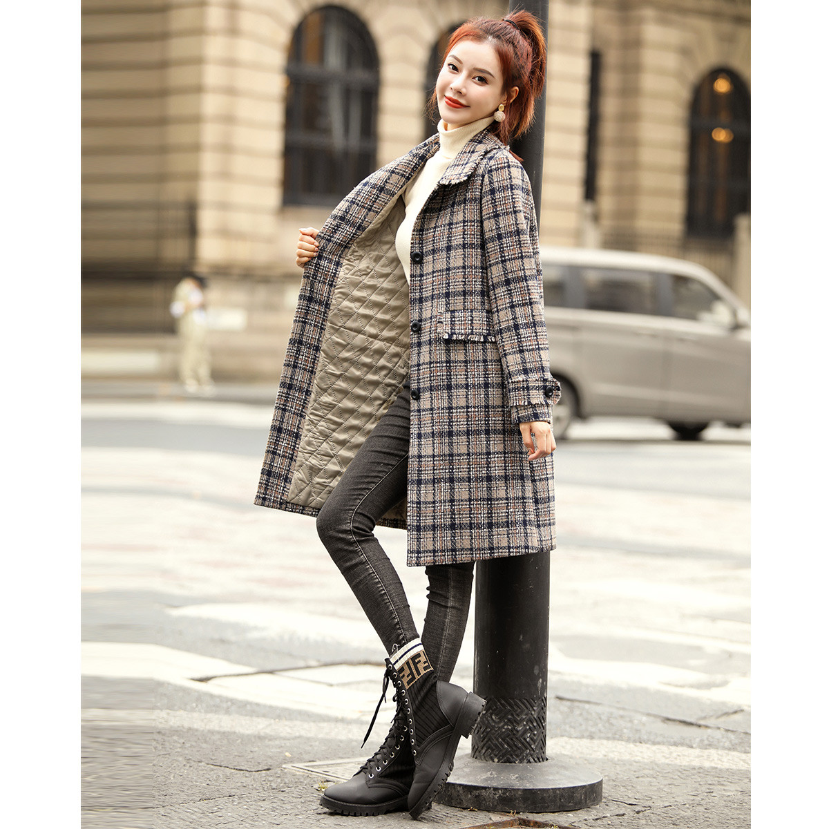 Moho & Mo Mohan Yimei middle long thick coat 2021 winter new womens clip middle long plaid coat