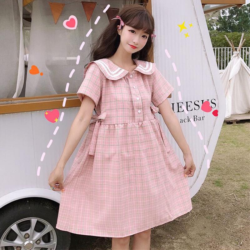 连衣裙2020新款夏季韩版可爱女装绑带学生宽松裙子娃娃领裙子短袖