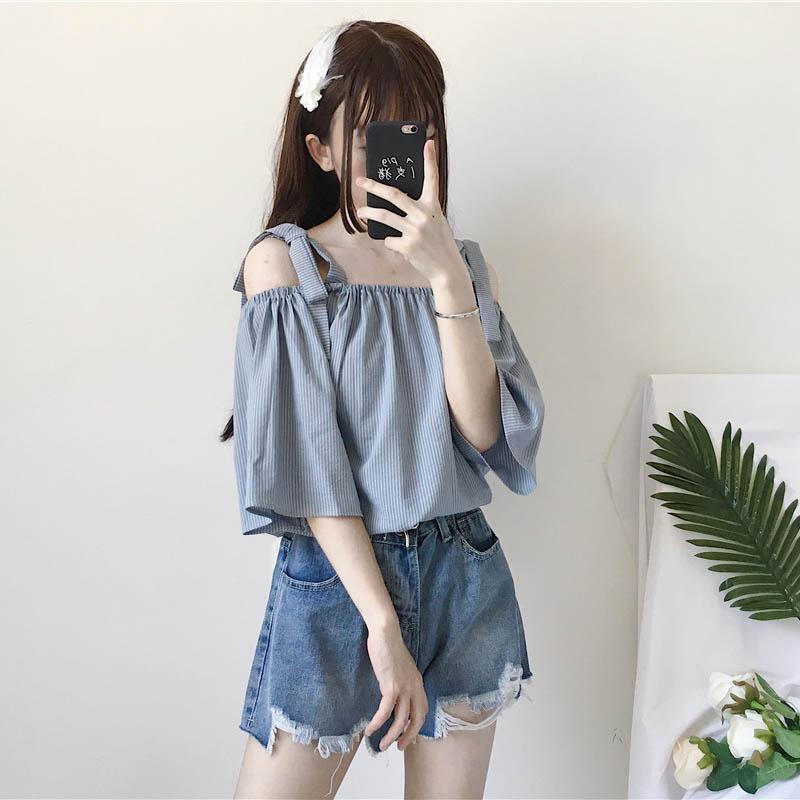 2018新款夏季女装韩版学生宽松条纹一字领衬衫露肩短袖上衣衬衣萌